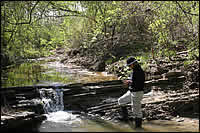 Geologist Gerta Keller at Darting Minnow Creek.