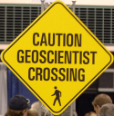 caution geoscientist crossing
