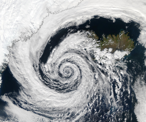 low pressure storm off Iceland