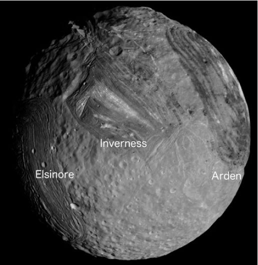Mosaic of southern hemisphere of Miranda, the innermost regular satellite of Uranus, with radius of 236 km. Projection is orthographic, centered on the south pole. Visible from left to right are Elsinore, Inverness, and Arden coronae