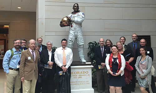 Science Policy Fellow Elizabeth Goldbaum helps lead a field trip to Capitol Hill.