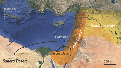 A satellite-imagery map of the eastern edge of the Mediterranean Sea and the land south and east of it. The Levant region is shaded in orange, and the Fertile Crescent is shaded in yellow. A thin black arrow stretches from the northern Sahara Desert to the western coast of Israel, and a thicker black arrow curves from the Negev Desert (in the southwestern corner of Israel) to further inland Israel. A thin black arrow also goes from the Sahara to the island of Crete. The two study areas (Galilean Mountains in Israel and the island of Crete) are outlined by gray dashed boxes. The scale bar reads 200 km.