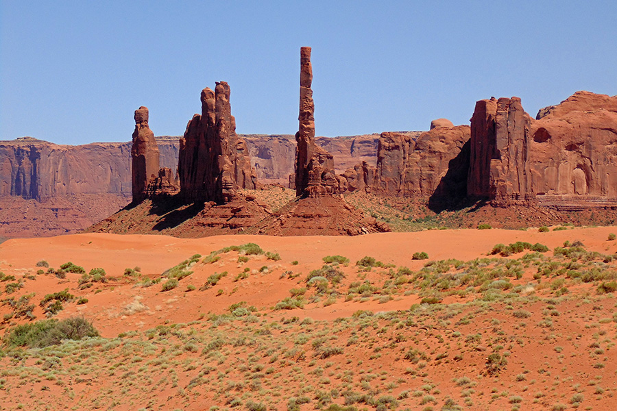 Pinnacles and buttes in Monument Valley, Arizona.