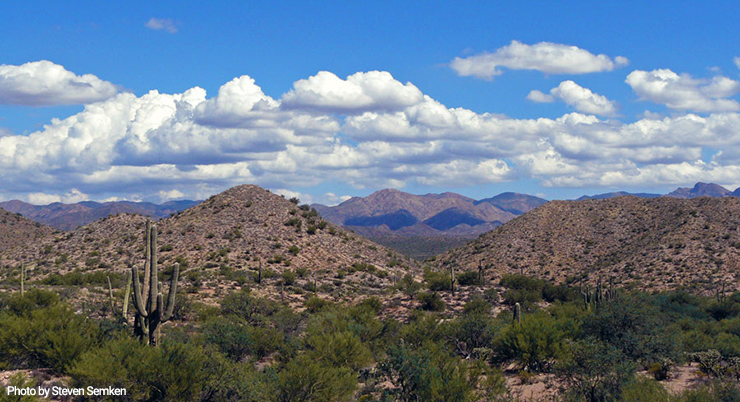 Basin and range landscape east of Phoenix, Arizona.