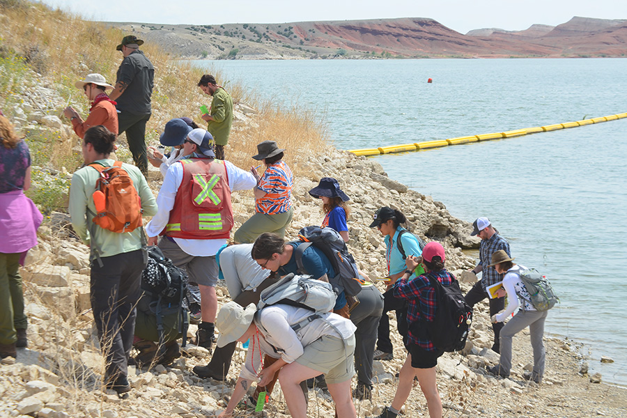 A group of geologists examine rocks along a lakeshore.