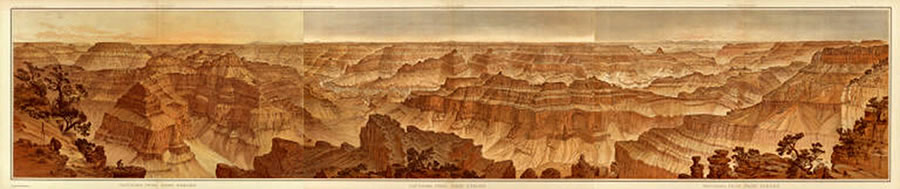 Grand Canyon lithograph by William Henry Holmes