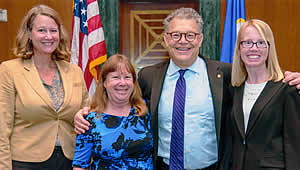 Kasey White, Jean Bahr, and Candace Kairies-Beatty meet with Senator Al Franken during GeoCVD 2017