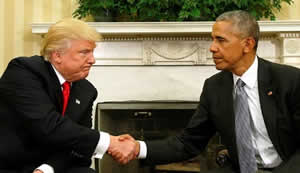 Trump and Obama meet in in the Oval Office.