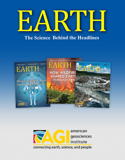 EARTH magazine from AGI, shown with three past covers.