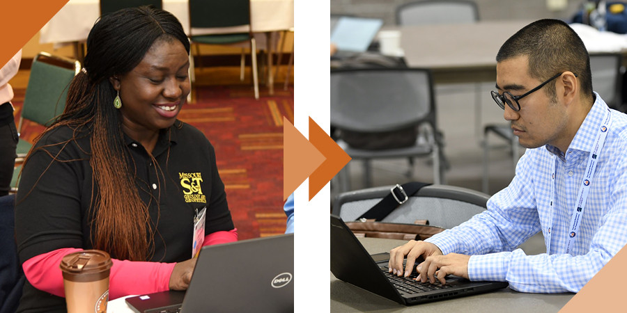 In side-by-side photos, a woman and a man work on laptops.